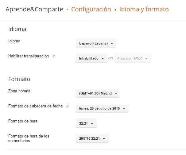 configuracion blogger idioma formato