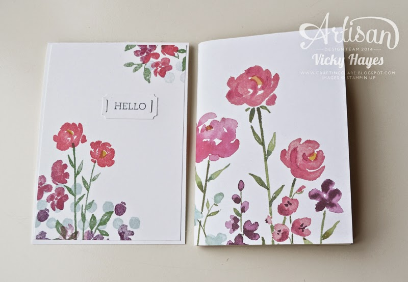 Pink flowered notebook, covered in Stampin' Up Painted Blooms designer paper