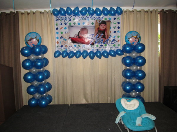 Biba party shop wade samuel 39 s baptismal balloon decor for Balloon decoration ideas for baptism