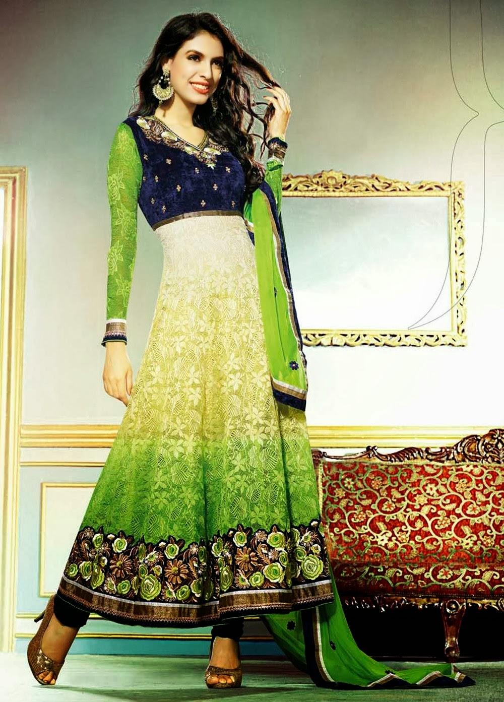 Pretty Wedding Anarkali Churidar Dresses 2013 14