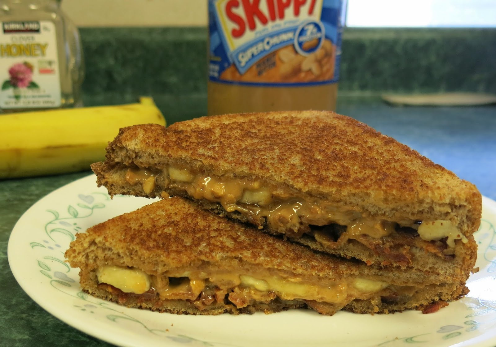 peanut butter, banana, honey and bacon grilled sandwich - the elvis