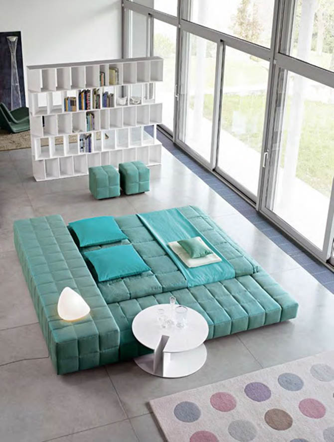 Modern Big Double Bed Furniture Design Squaring Penisola from Bonaldo
