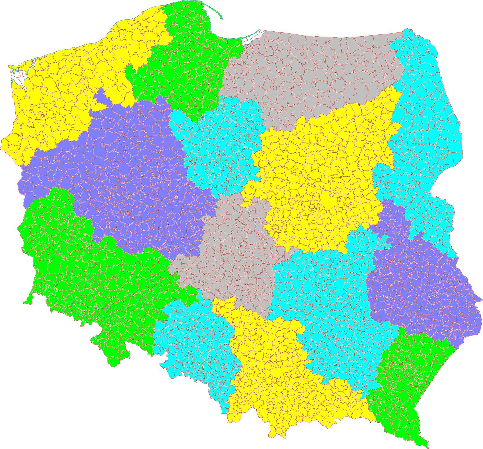 Podział administracyjny Polski - 14 województw