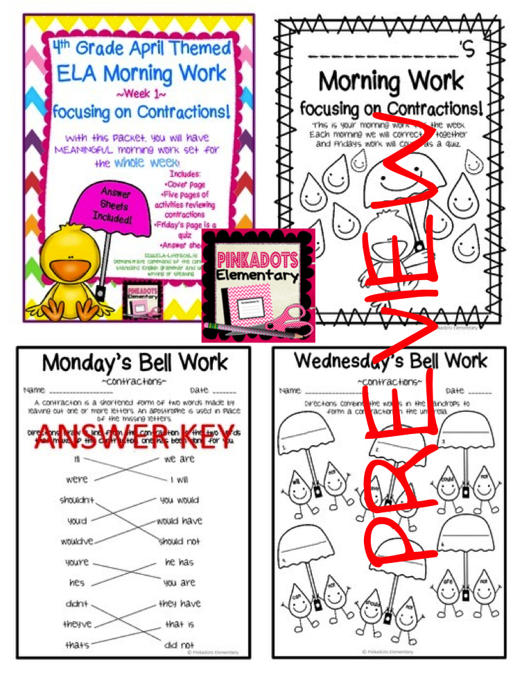 http://www.teacherspayteachers.com/Product/4th-Grade-ELA-Morning-WorkBell-Work-April-Themed-Contraction-work-sheets-1195487