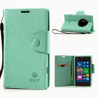 Leather Case Wallet Stand with Credit Card Slot for Nokia Lumia 1020 - Baby Green