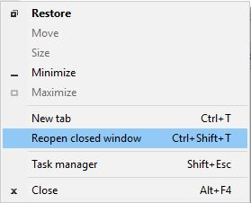 Reopen closed window - Chrome