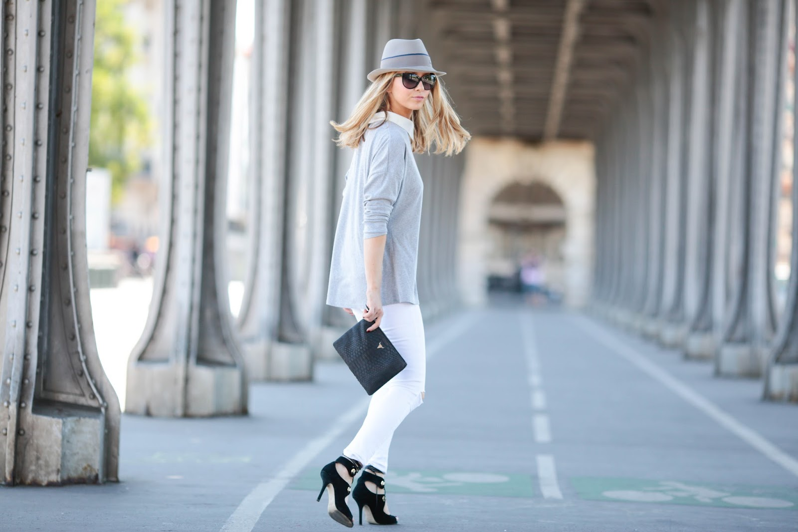 streetstyle, clutch, paris, white jeans, maison michel, pardonmyobsession