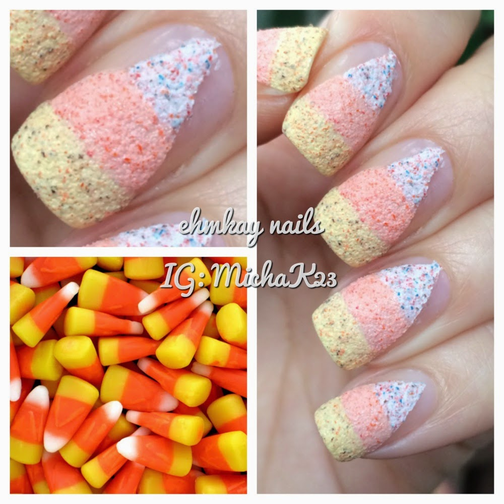 Ehmkay Nails Textured Candy Corn Halloween Nail Art With Kiko