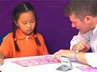 little girl taking oral test