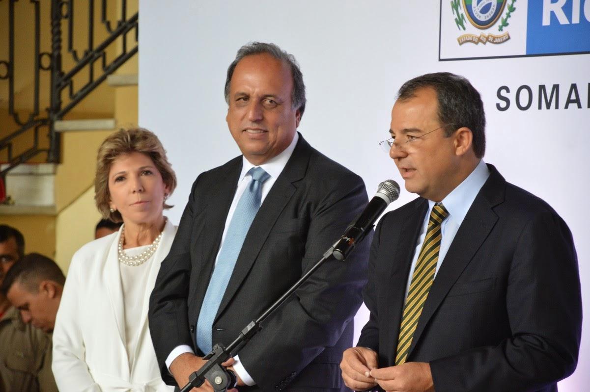 Maria Lúcia Cautiero, Pezão e Sérgio Cabral no Palácio Guanabara
