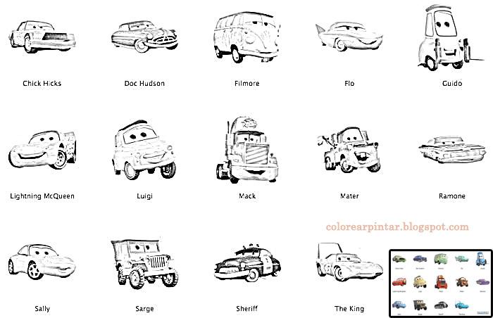 Colorear Pintar: Personajes de Cars Para Colorear