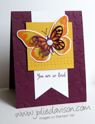 Stampin' Up! Watercolor Wings + Bold Butterfly Framelits & Fluttering Embossing Folder #stampinup www.juliedavison.com