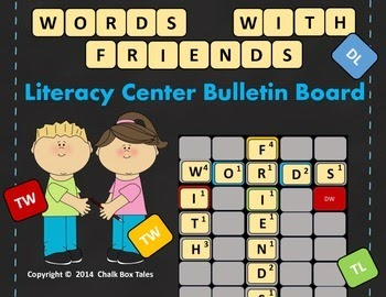 http://www.teacherspayteachers.com/Product/Words-With-Friends-Literacy-Center-Bulletin-Board-Grades-2-6-1370079