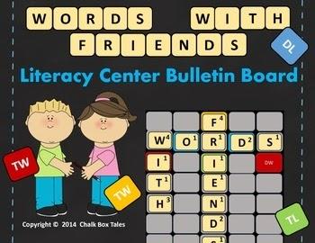 http://www.teacherspayteachers.com/Product/Words-With-Friends-Literacy-Center-Bulletin-Board-Grades-2-6-1370079
