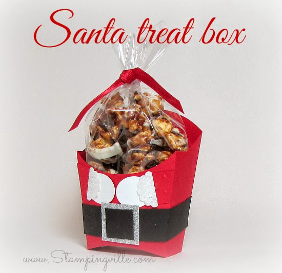 "Santa decorated ""fry box"" treat holder 
