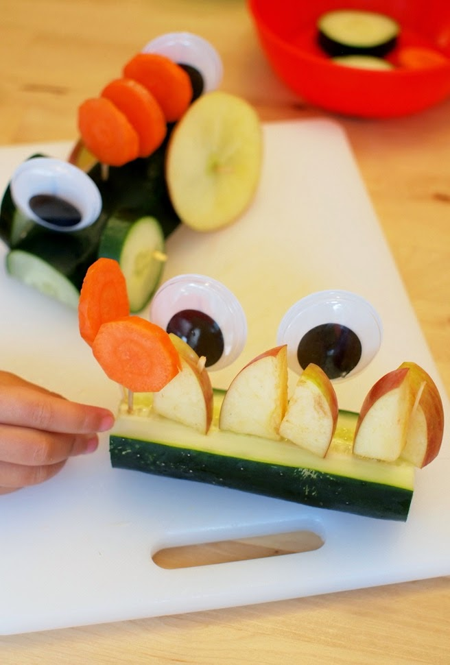 creative snack time activity- create snack time veggie monsters