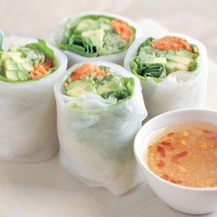 Cucumber and Avocado Summer Rolls with Mustard-Soy Sauce