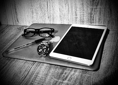 black and white pic of essential blogging kit