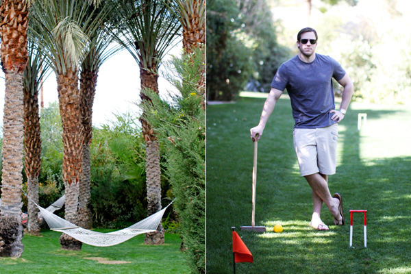 Hammocks and lawn games at The Parker Palm Springs