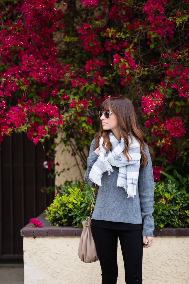 gray everlane wool sweater and black ripped jeans M Loves M @marmar