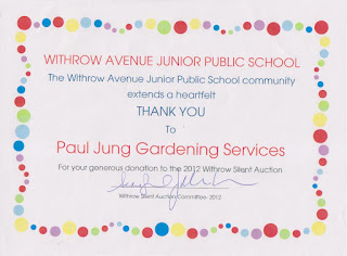 Withrow Avenue Junior Public School Silent Auction Fundraiser donation certificate