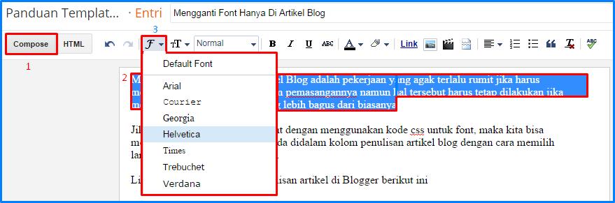 Mengganti Font Hanya Di Artikel Blog
