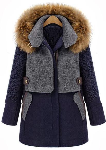 Detachable Fur Hood Wool Blend Coat
