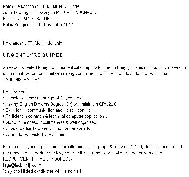 Lowongan Pekerjaan PT. MEIJI INDONESIA
