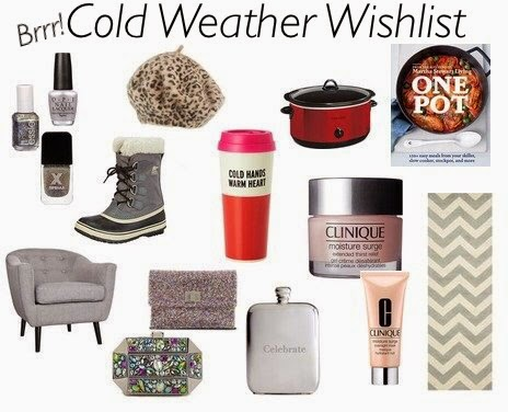 Winter 2014 wishlist, winter holiday guide, fashion finds new york city, fashion blogger wants, fashion blogger holiday gift guide, cold weather wishlist, Sorel grey sheerling boots, Kate Spade travel mug, Kate Spade Cold Hands Warm Heart thermos, Celebrate pewter flash, monogrammed flask, engraved flask, Home Depot grey fabric chair, Lulu Townsend rhinestone clutch, cute glitter clutch, Anya Hindmarch glitter clutch purse, sparkly clutch purses, leopard beret, leopard beanie, Chevron runner rug, grey and white runner rug Overstock, Safavieh runner for floor, silver nail polish, metallic nails, red Crockpot, Martha Stweart crockpot cookbook