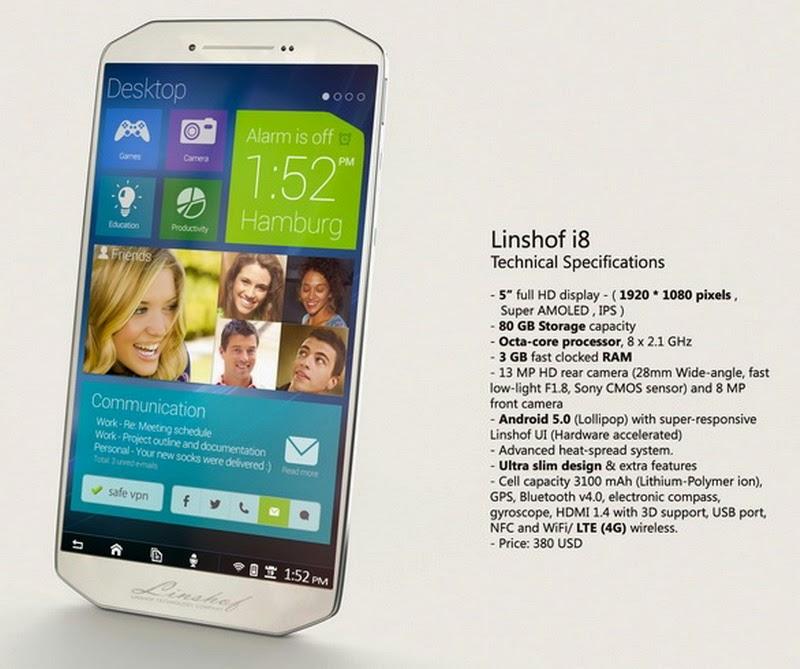 Linshof i8, Smartphone Android Lollipop Dengan Penyimpanan 80GB