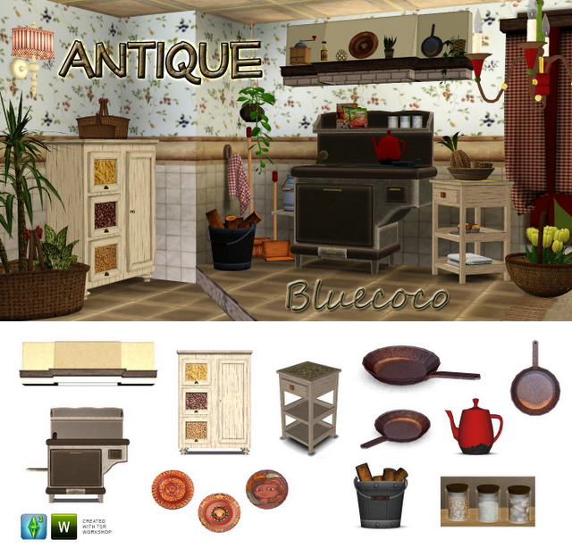 My Sims 3 Blog: Antique Kitchen Set By Bluecoco