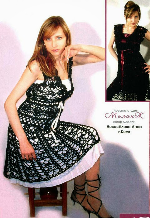 Fino vestido negro al crochet