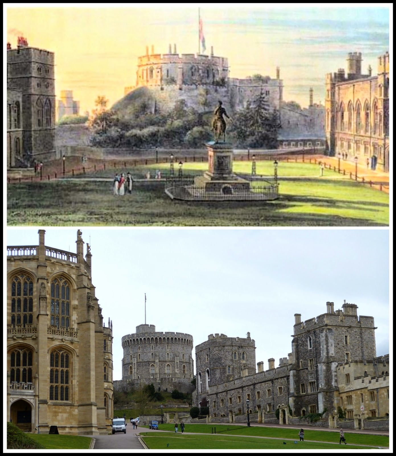 Top: The Upper Ward, Windsor Castle from   The History of the Royal Residences by WH Pyne (1819)  Bottom: The Lower Ward, Windsor Castle today © Andrew Knowles