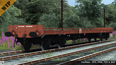 Fastline Simulation - Carflats: An FVW carflat to diagram 1/177 in brown livery with vacuum brakes, through air pipes and shorter sides with removable sections with wooden ends.