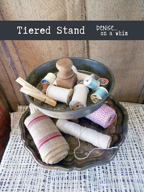 Beautiful Metal Tiered Stand via http://deniseonawhim.blogspot.com