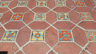 Malibu glazed ceramic tiles meld beautifully with terracotta tiles along the walkways of the Adamson House.