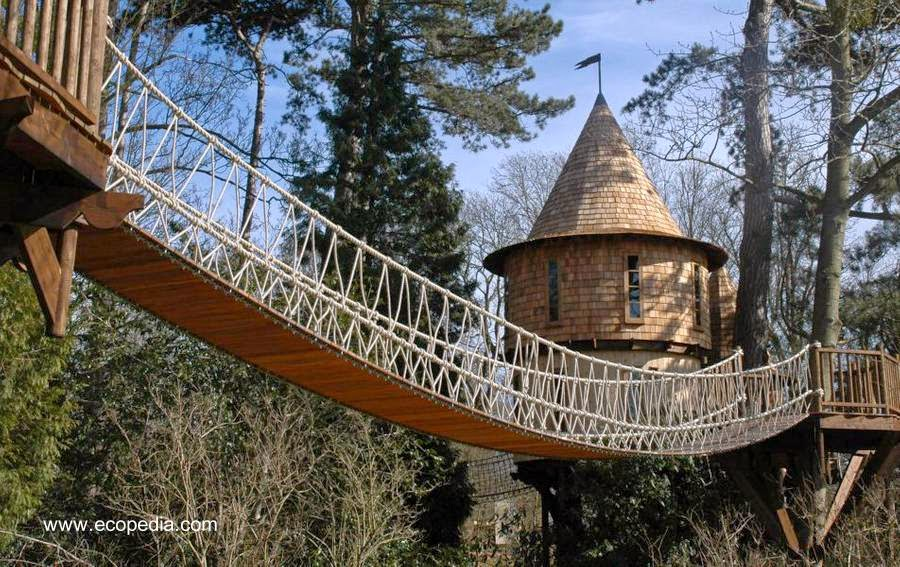 Castillo casa del árbol con larga pasarela