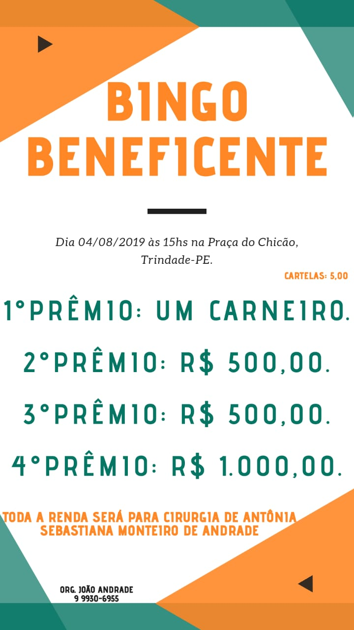 BINGO BENEFICENTE DIA 04 DE AGOSTO