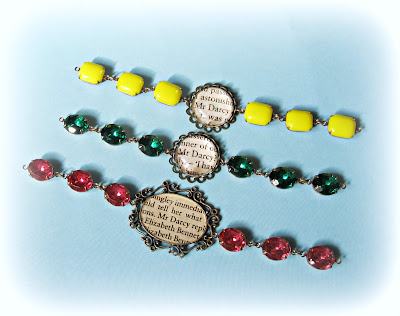 image vintage glam it up bracelets Mr Darcy jane austen pride and prejudice two cheeky monkeys jewellery jewelry pink emerald green yellow