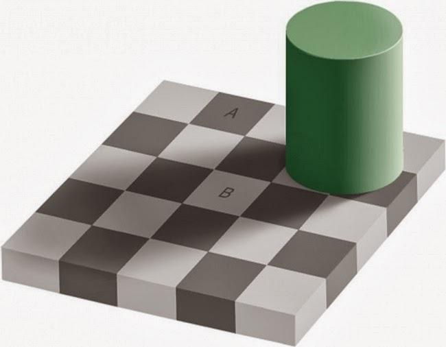 Разного ли цвета клетки A и B шахматной доски? Иллюзия восприятия цвета, опубликованная профессором Массачусетского технологического института Эдвардом Эдельсоном (Edward H. Adelson) в 1995 году.