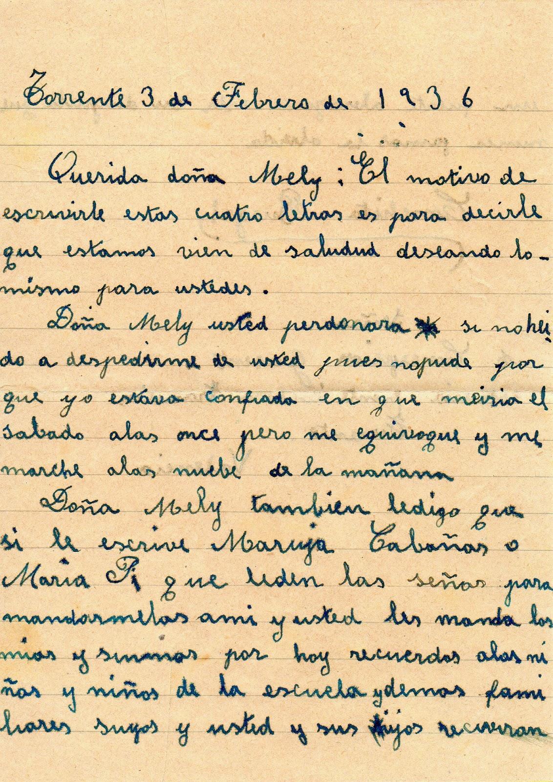 Melitina Álvaro Blázquez - 1936 - Carta de alumna 1