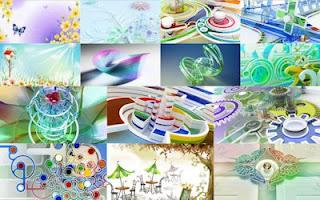 Fondos de figuras abstractas en 3D en colores fascinantes