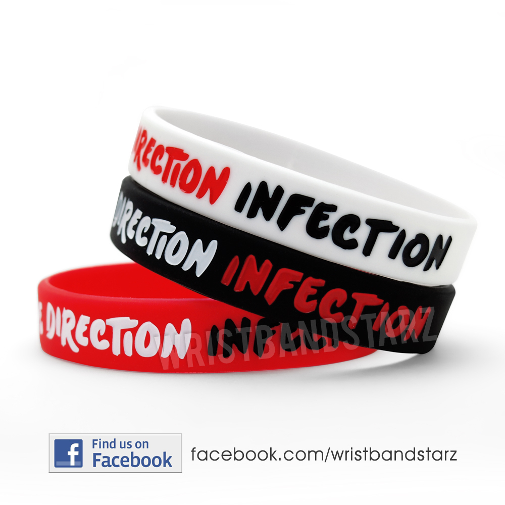 ONE DIRECTION INFECTION BRACELET WRISTBAND - RED BLACK