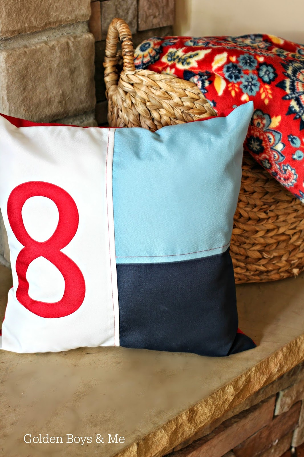 Nautical flag pillow part of Americana family room summer mantel-www.goldenboysandme.com