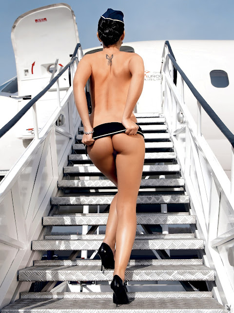 Andreja Karba Naked Air Stewardess Stripping Out Of Her Uniform On An Airplane For Playboy indianudesi.com