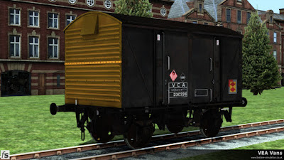 Fastline Simulation - VEA Vans:  This Railfreight Distribution liveried VEA van has started to fade as the grime builds up and still has a hazard warning label applied.
