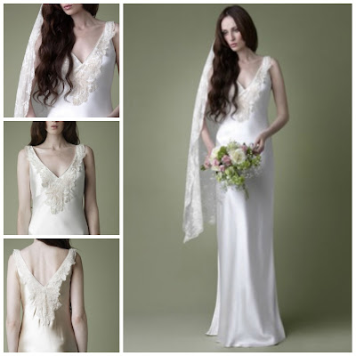 1920s style lace wedding dress with plunging neckline 1930s style satin