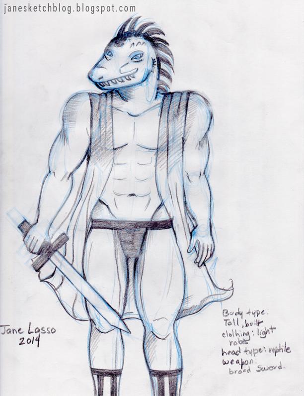 Dibujo de hombre iguana