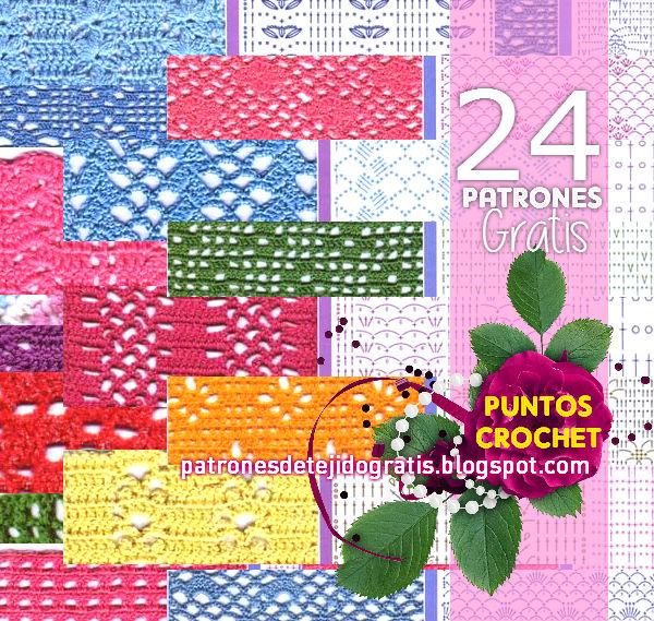 24 patrones de puntos crochet / con pdf | Patrones para Crochet