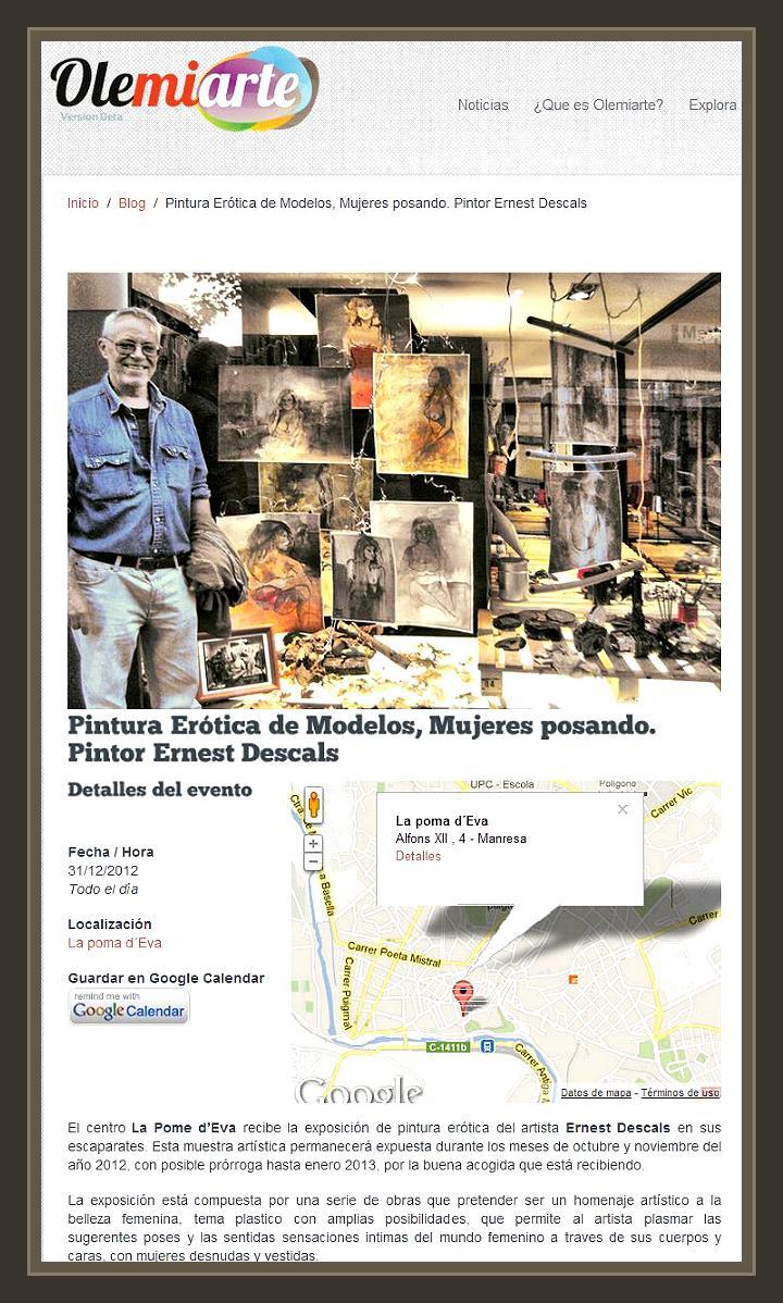 OLEMIARTE-POMA D´EVA-PINTURA-EROTICA-EXPOSICION-MANRESA-PINTOR-ERNEST DESCALS-